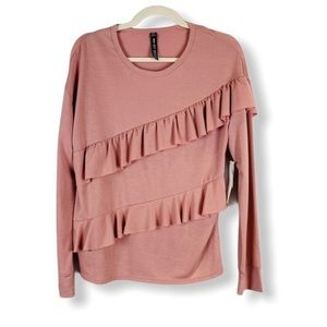 Design Lab Ruffled Front Sweater